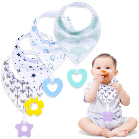 Kalevel 4 Pack Baby Bibs with Snaps Teether Bandana Bibs Soft Absorbent Adjustable Drool Bandana Organic Cotton Baby Bibs 2 Layers Baby Shower Gifts Set for 0-3 Years Toddler Boys