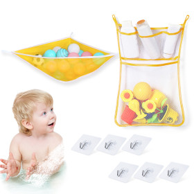 Kalevel 2pcs Toy Storage Net Hammock Baby Kids Bath Shower Toy Organizer Storage Holder Corner Mesh Bath Bag Caddy with Waterproof Adhesive Hooks (Yellow)