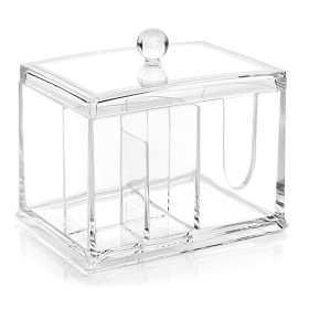 Kalevel Cotton Pads Holder Acrylic Cosmetic Storage Q Tip Dispenser Bathroom Cotton Container with Lid (Clear)