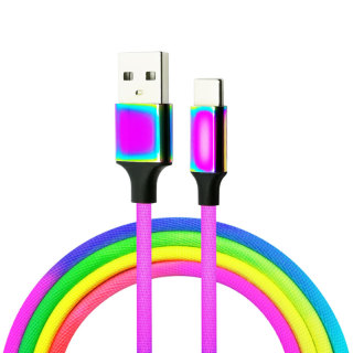 Rainbow Design Type C USB A Phone Cable Cord