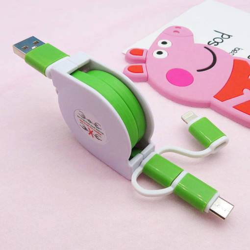 Retractable 3 in 1 iPhone Type C Micro 1M Multipurpose Charge USB Phone Cable