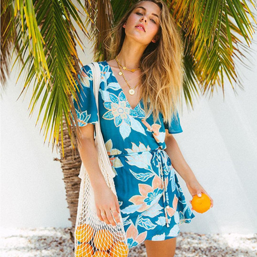 V-neck cross tie bohemian print irregular dress