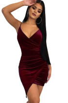 Red Wrapped V Neck Ruched Velvet Mini Dress
