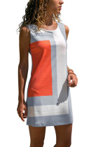 Orange Color Block Geometric Sundress