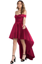 Red Off Shoulder Party Taffeta Gown