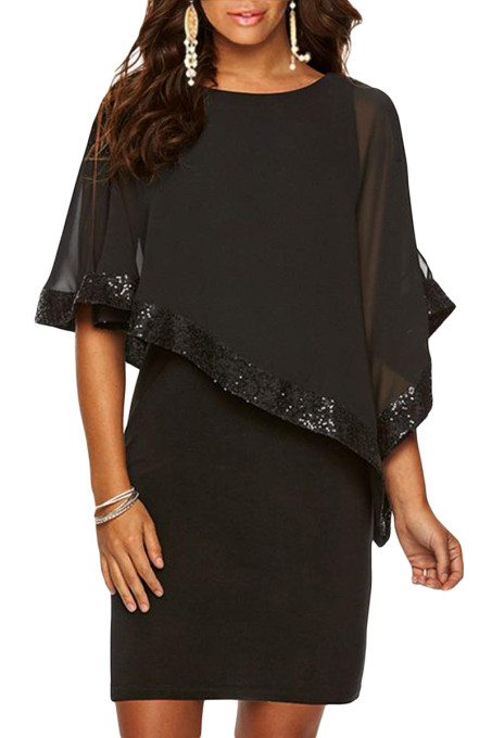 Black Sequined Poncho Mini Dress