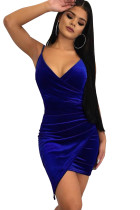 Blue Wrapped V Neck Ruched Velvet Mini Dress