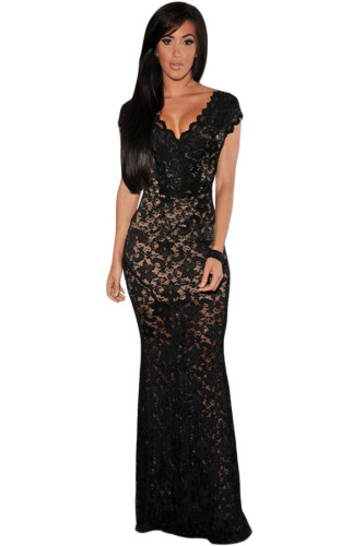 Black Lace Nude Illusion Low Back Evening Dress