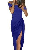 Blue Off Shoulder Short Sleeve Party Dress