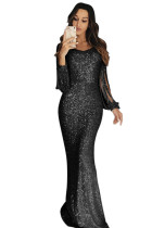 Black Sequin Fringe Sleeve Party Maxi Evening Dress