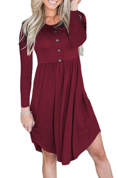 Red Long Sleeve Button Ruffled Irregular Hem Swing Dress