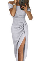 Gray Off Shoulder Short Sleeve Metallic Slit Party Dress