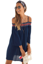 Navy Off Shoulder Embroidered Neckline Boho Beach Dress