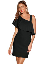 Black One Shoulder Ruffle Elegant Mini Dress