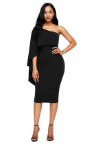 Black Batwing Sleeve One Shoulder Sheath Dress