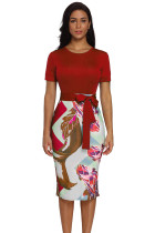 Red Bowknot Short Sleeve Printed Sheath Dress