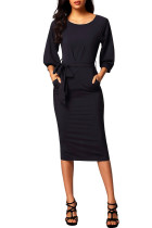 Black Puff Sleeve Belt Chiffon Pencil Dress
