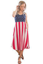 American Flag Print Casual Pocket Style Tank Dress