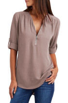 VZFF Khaki Casual V Neck Zip up Half Sleeve Blouse