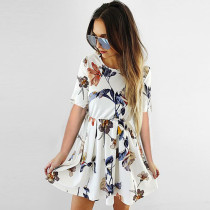 Lossky Summer Dress Women's 2019 Sexy Bottoming Simple Printed Pleated Mini Dress Short-sleeved O-Neck Women's Loose Dresses