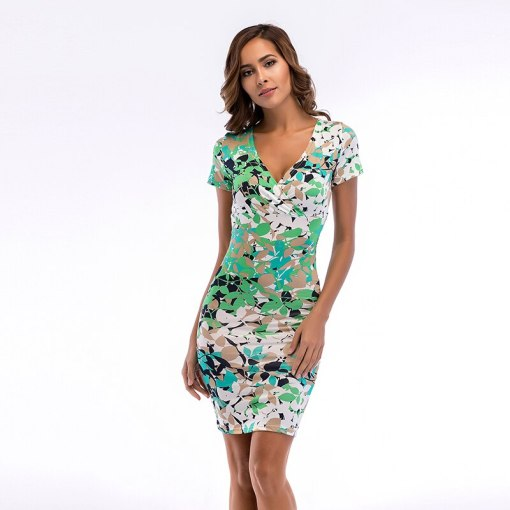 Summer Women Dress 2019  Vintage Sexy pencil dress New fashion slim floral deep V-neck print bodycon dress pencil women dresses