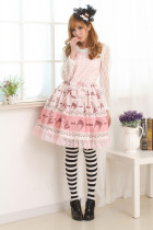 Sleeveless Knee-length Halter Pink Princess Dress Sweet Lolita Dress Customize
