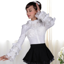 Aulic White Slim Flare Long Sleeves Princess Lace Sweet Lolita Women Blouse