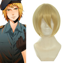 Rulercosplay Heat Resistant Fiber Inspired By Hetalia Switzerland Short Golden Anime Wigs Wholesaler