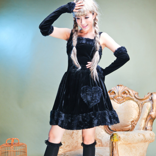 Black Polyamide Knee-length Vest Dress with Cape and Arm Sleeve Gothic Lolita Dress