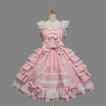 Lovely Lolita Fashion Sleeveless Knee-length Pink Bow Multilayer Cotton Sweet Lolita Dress Customize