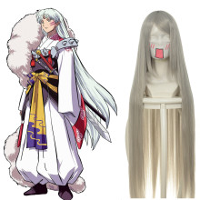 Rulercosplay Heat Resistant Fiber Inspired By InuYasha Sesshomaru Super Long White Anime Wigs Wholes