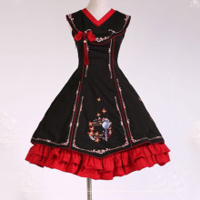Chinese Style Coloured Embroidery Pattern Satin and Cotton Fashion Lolita Dress Anime Cosplay Custom