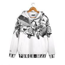 ONE PUNCH MAN Saitama Prints White Polyester Hoody