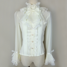 Beige Velvet Chiffon Slim Flare Long Sleeves Princess Lace Sweet Lolita Blouse with Bowknots