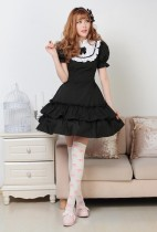 Short Sleeves Knee-length Black Bow Princess Dress Sweet Lolita Dress Customize Anime Cosplay Custom