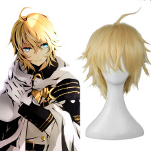 Rulercosplay Seraph Of The End Mikaela Hyakuya Short Yellow Curly Heat Resistant Fiber Cosplay Anime