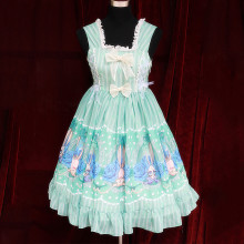 Rulercosplay Customized Cute Rabbit Pattern Lolita Chiffon Light Green Sleeveless Dress Wholesaler R
