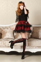 Customized Knee-length Sweet Lolita Red Bubble Skirt with Squares and Lace Lolita Fashion