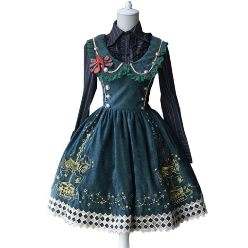Lolita Fashion Cotton Whirligig Pattern Sleeveless Sweet Lolita Dress Anime Cosplay Custome.