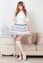 Sleeveless Blue Lace Princess Short Dress Sweet Lolita Dress Customize