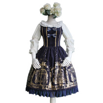 Lolita Fashion Cotton Keen-length Flower Prints Angel Courtyard Pattern Sweet Lolita Dress