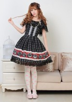 Short Sleeves Knee-length Black Princess Dress with Lace Sweet Lolita Dress Customize Anime Cosplay