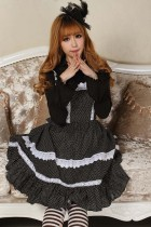 Sleeveless Knee-length Black Princess Dress with White Straps Sweet Lolita Dress Customize