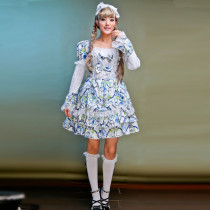 Knee-length Dress with Long Sleeve and Headdress Lolita Dress