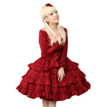 Fashion Cotton Wine Red Knee-length Long Sleeves Dress With Big Bow Sweet Lolita Dress Anime Cosplay