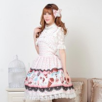 Sleeveless Knee-length Pink Lace Bow Princess Dress Sweet Lolita Dress Customize Anime Cosplay Custo