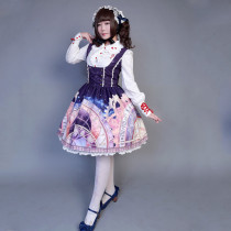 Rulercosplay Customized Cute Vintage Clock Pattern Lolita Sleeveless Chiffon Dress 4 Colors Anime Co