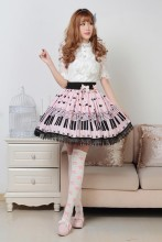 Pink Knee-length Sweet Lolita Pleated Skirt with Piano Keyboard Prints and Lace Lolita Fashion Custo