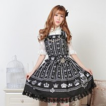 Sleeveless Knee-length Black Crown Princess Dress Sweet Lolita Dress Customize