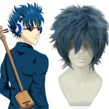 Rulercosplay Heat Resistant Fiber Inspired By Gintama Bansai Kawakami Short Ink Blue Anime Wigs Whol